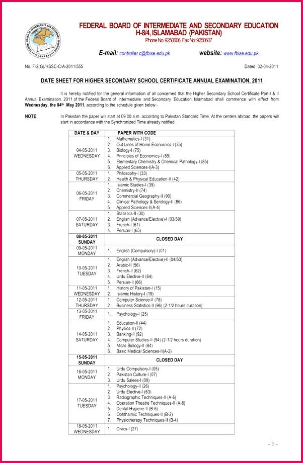 FEDERAL BOARD OF INTERMEDIATE AND H 8 4 ISLAMABAD PAKISTAN E mail