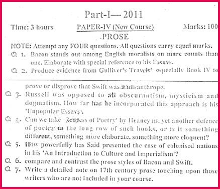 prose paper iv ma english part i 2011 punjab university