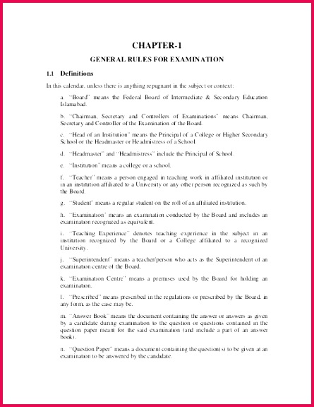 general rule for examination Federal Board of Intermediate and