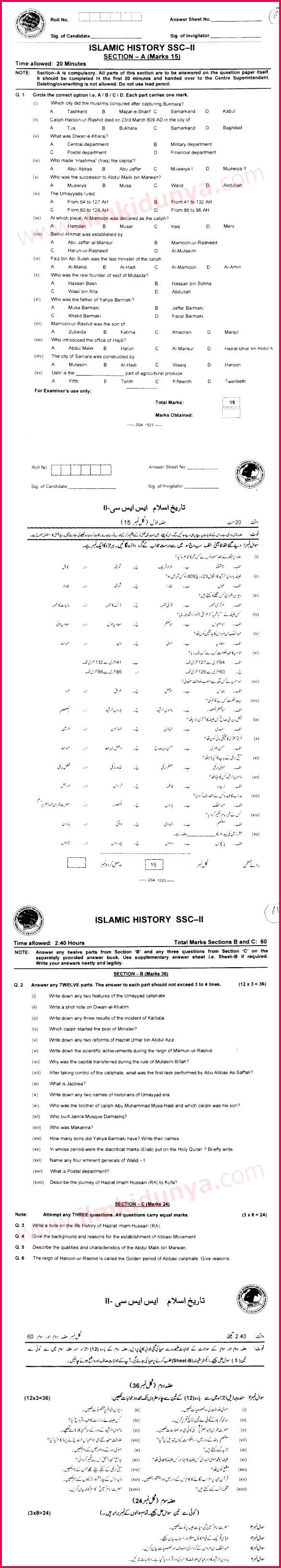 Past Papers 2015 Federal Board Inter Part 2 Islamic History