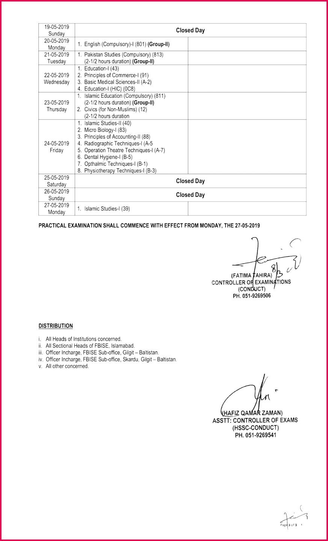 2018 Date Sheet