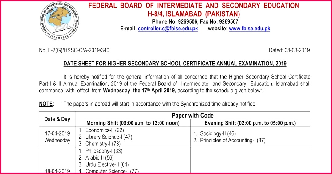 FBISE Federal Board 1st Year 2nd Year Date Sheet 2019 Roll Number Slip Download