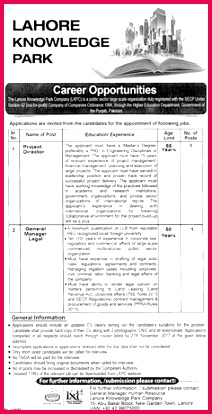 Lahore Knowledge Park LKPC Jobs 2017 for Project Director and General Manager Legal