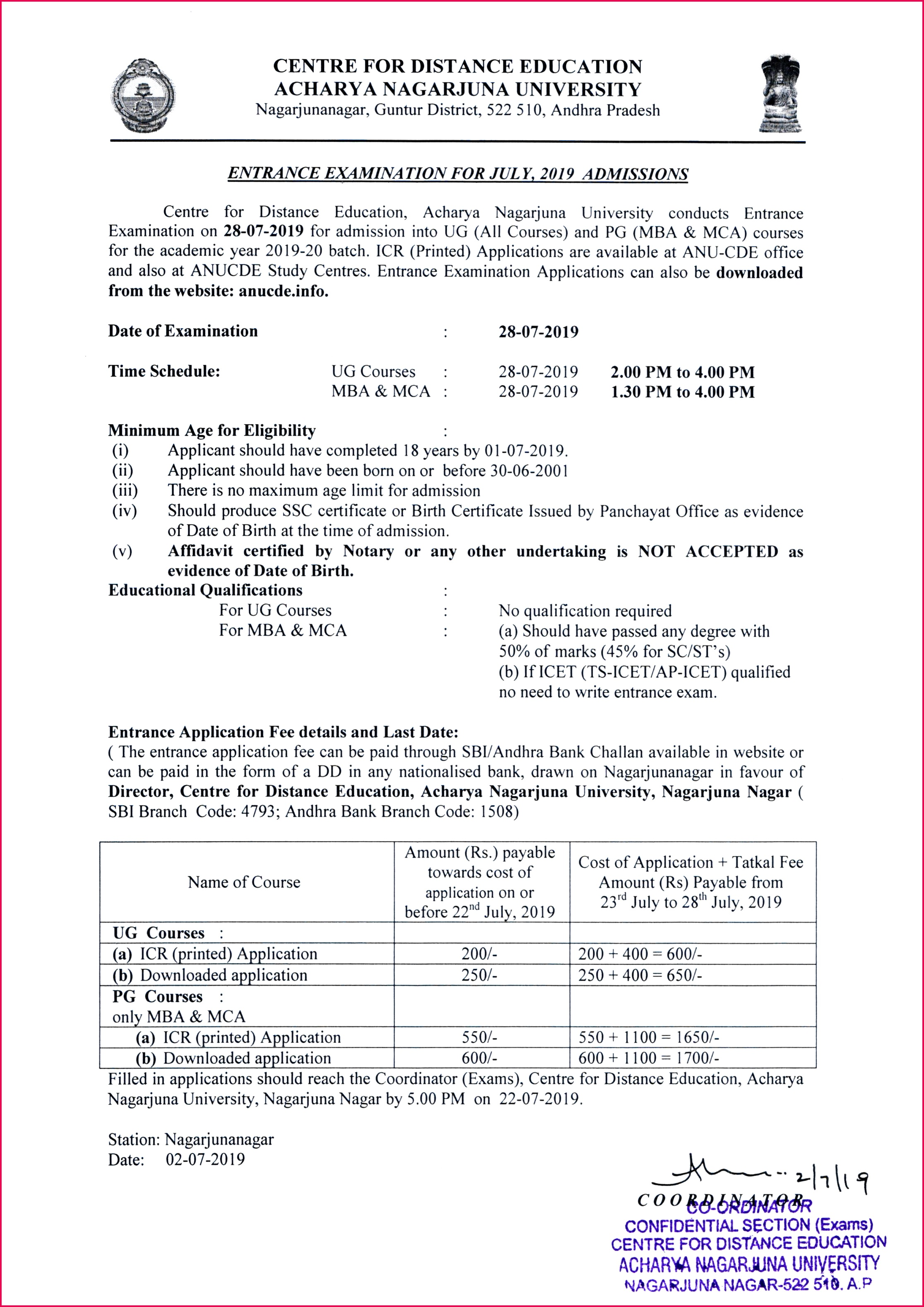 Academic Year 2019 20 Enrance Examination Schedule
