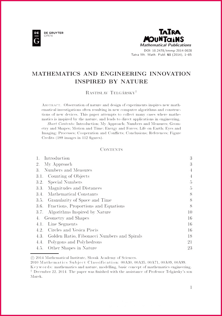 Mathematics in Nature Modeling Patterns in the Natural World