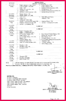 Federal Board 9th and 10th Class SSC Date Sheet 2018 Federal Board 9 And 10