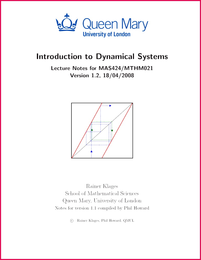 PDF Introduction to Dynamical Systems Lecture Notes