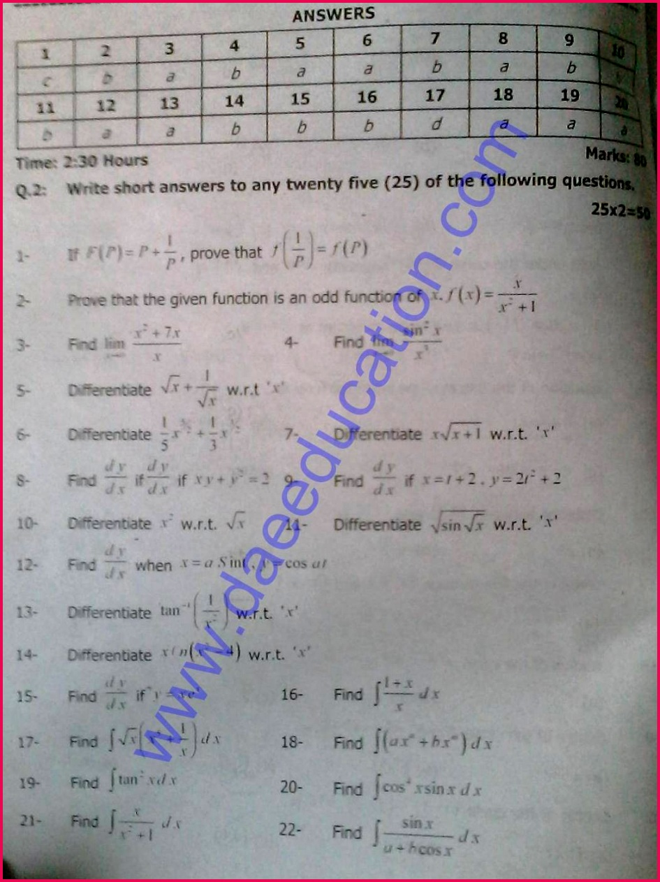 Mech 212 applied math dae 2nd year past papers 2012