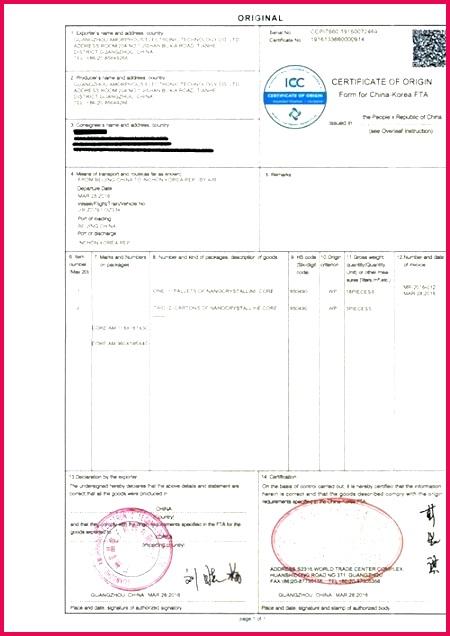 manufacturer statement of origin template certificate form for china free trade agreement beautiful temp manufactu