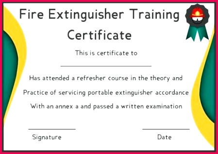 fire extinguisher training certificate template safety