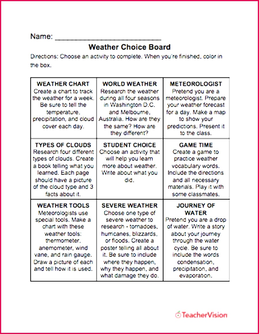 activities to support students to learn about weather