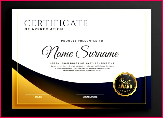 certificate template award golden style 1017