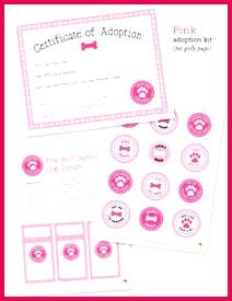 Free printable dog adoption kit