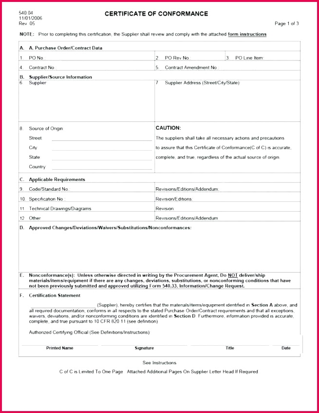 template ideas certificate of conformance sensational manufacturing aviation pliance excel