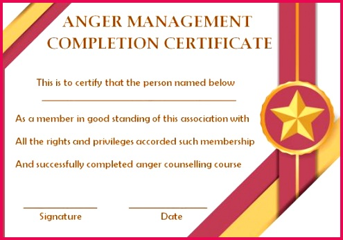 8 Week Anger Management Course pletion Certificate