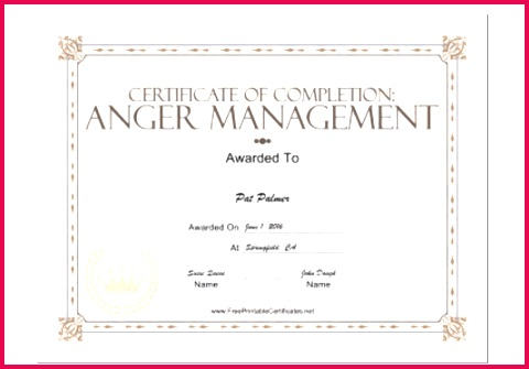 Certificate pletion Templates Printable Anger Management Certificate