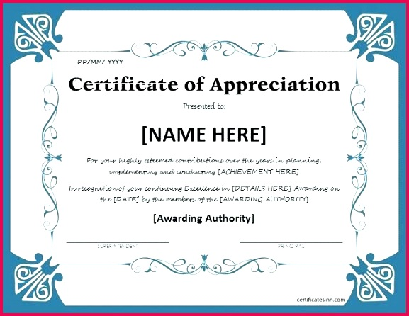 certificate of appreciation for ms word at in templates samples