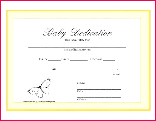 baby dedication certificate template of baptism inspirational free