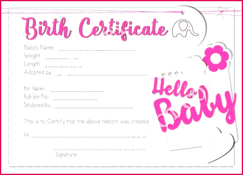 reborn doll birth certificate girl hello baby template free detail