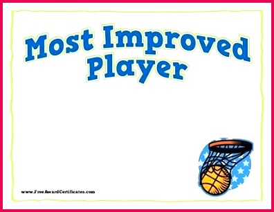 most improved basketball award certificate template student player football