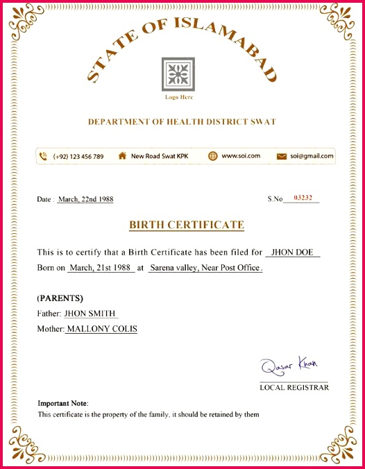 Birth Certificate Sample Nigeria or Birth Certificate Template – 31 Free Word Pdf Psd format Download