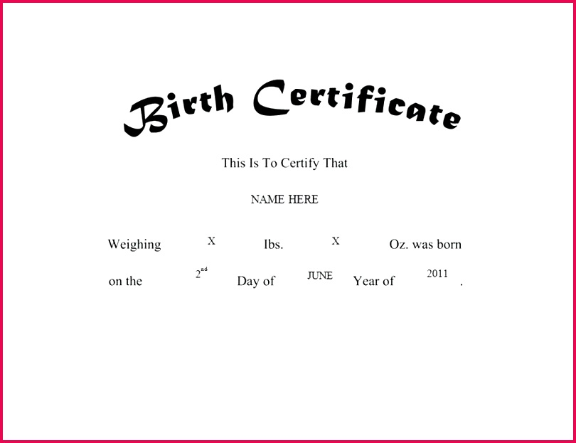 birth certificate template templates for word blank german