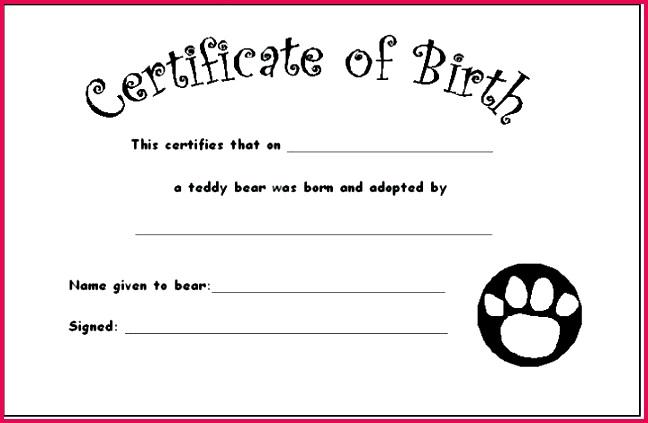 minimal pet birth certificate template free microsoft word
