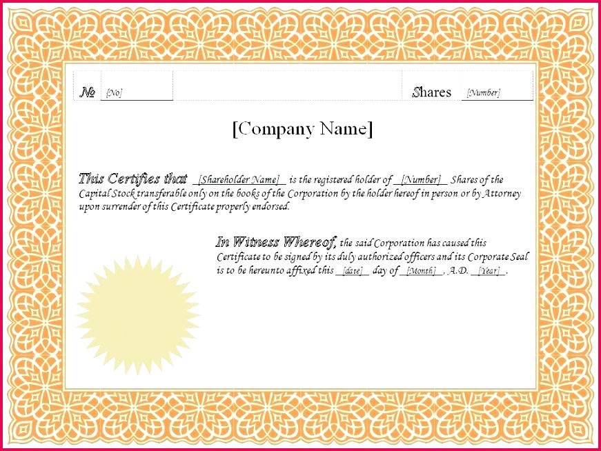 stock certificate template pany share panies house