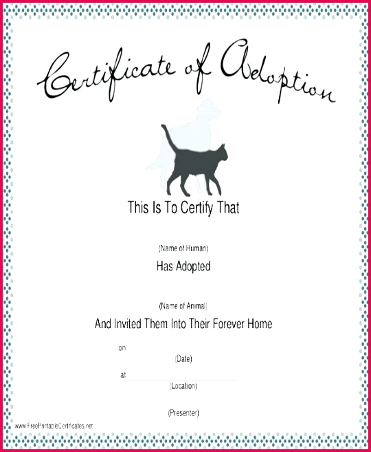 dog adoption certificate template pedigree papers free pet word