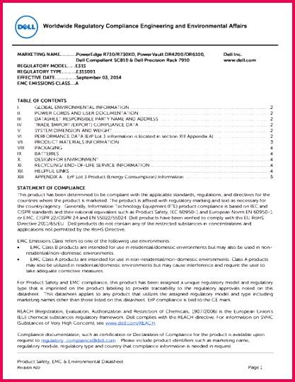 csm dell poweredge r730 regulatory statements c