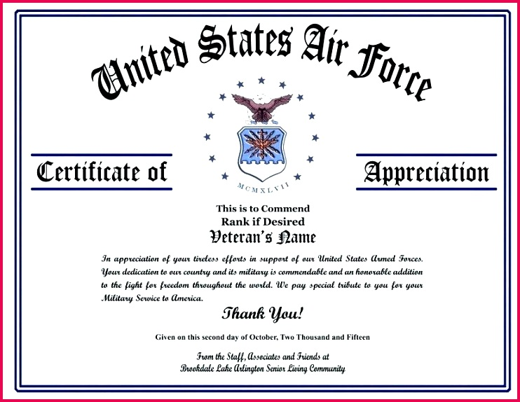 air force certificate of appreciation template military veterans certificates ideas thank you pinterest