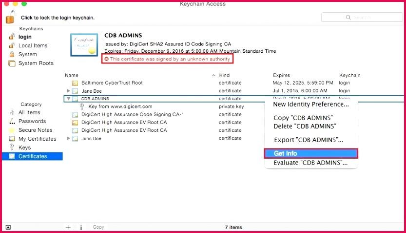 Mac Certificate Options