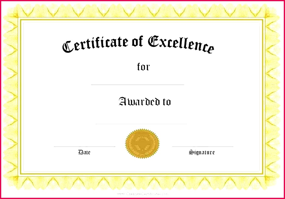 award of excellence formal certificate templates free