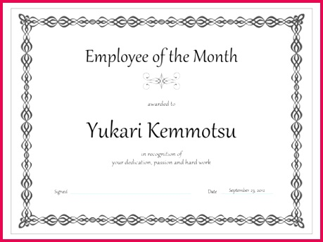 Certificate Employee of the month gray chain design