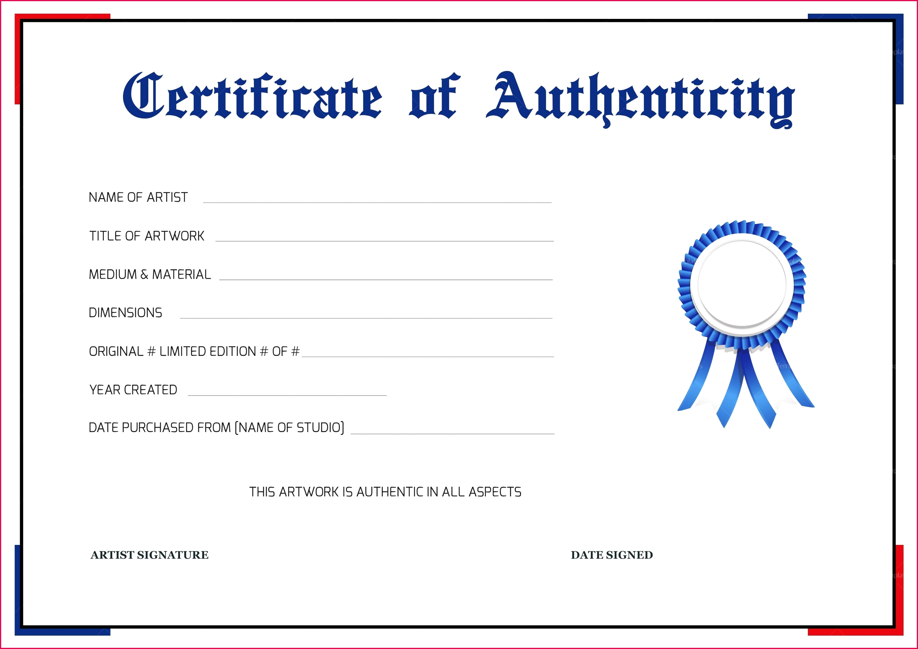 free printable certificate of authenticity templates 011 artwork template resume art example