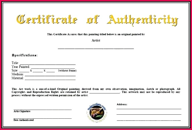 inspirational certificate authenticity template free painting of signature aut