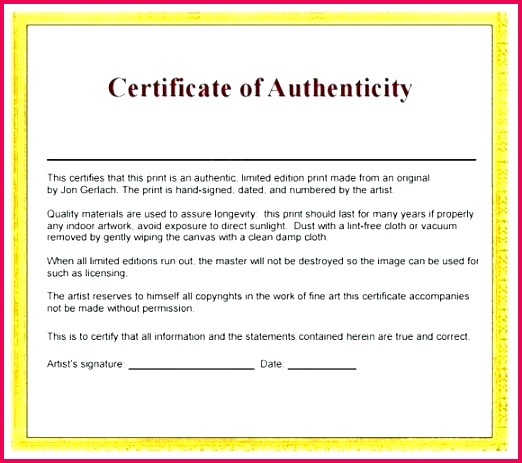 artist certificate letter of authenticity template word
