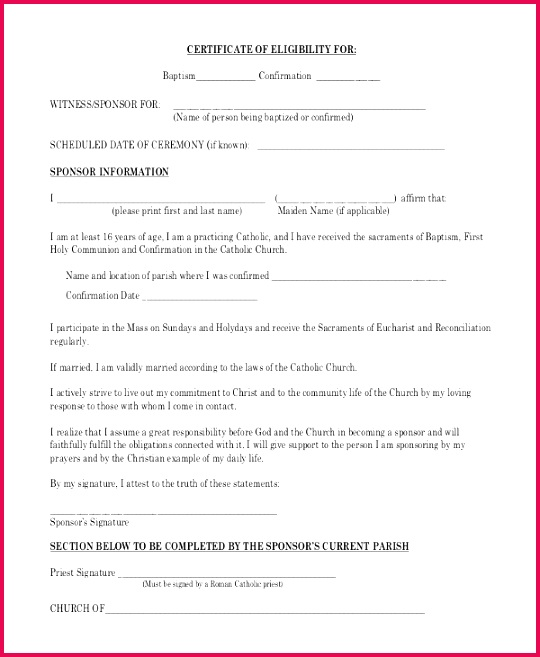 Baptism Eligibility Certificate