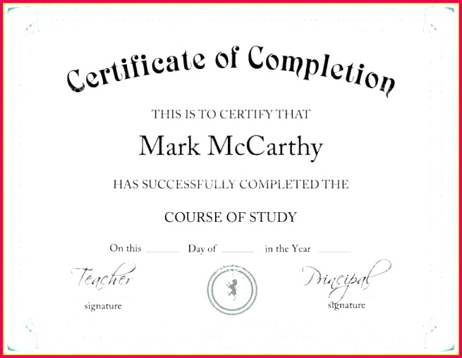 course pletion certificate template word as of 2010 templat