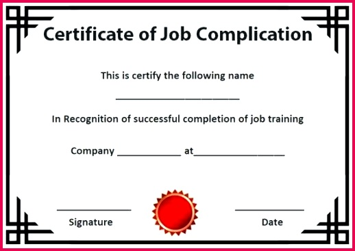 certificate of pletion template sample free marriage counseling condo ojt training form