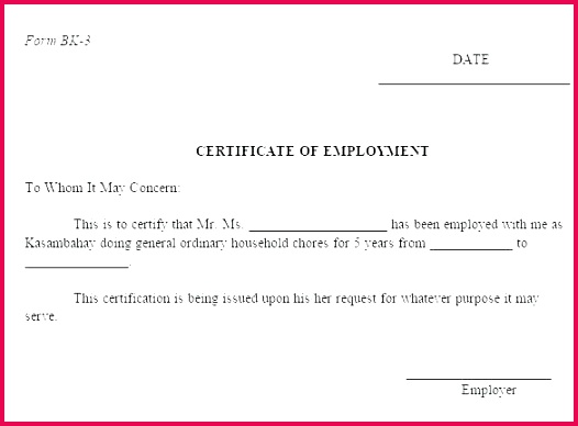 sample of employment certificate employee service template experience examples munity