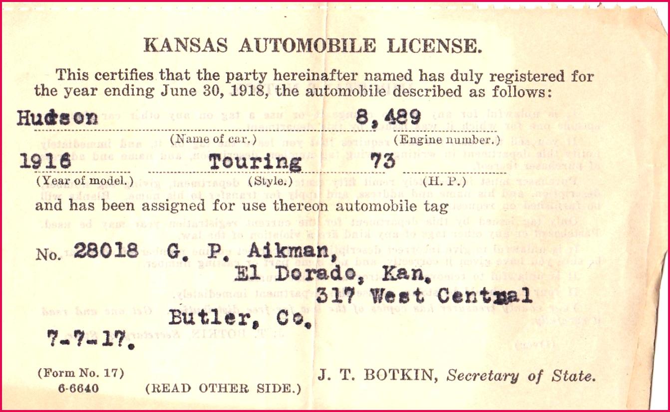 Vehicle registration certificate