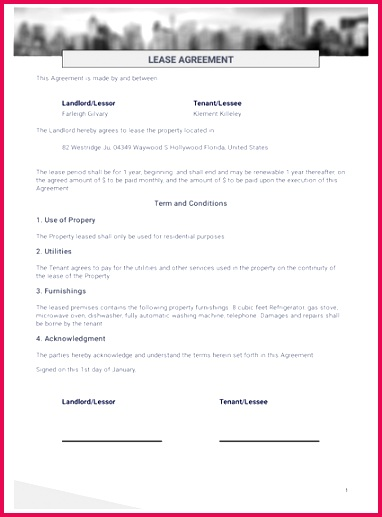 Simple e Page Lease Agreement