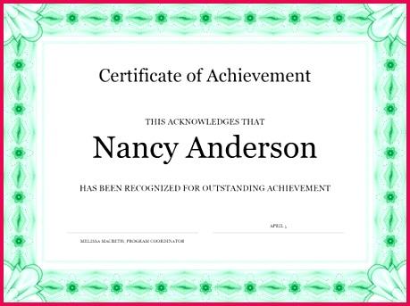 Certificate of achievement green
