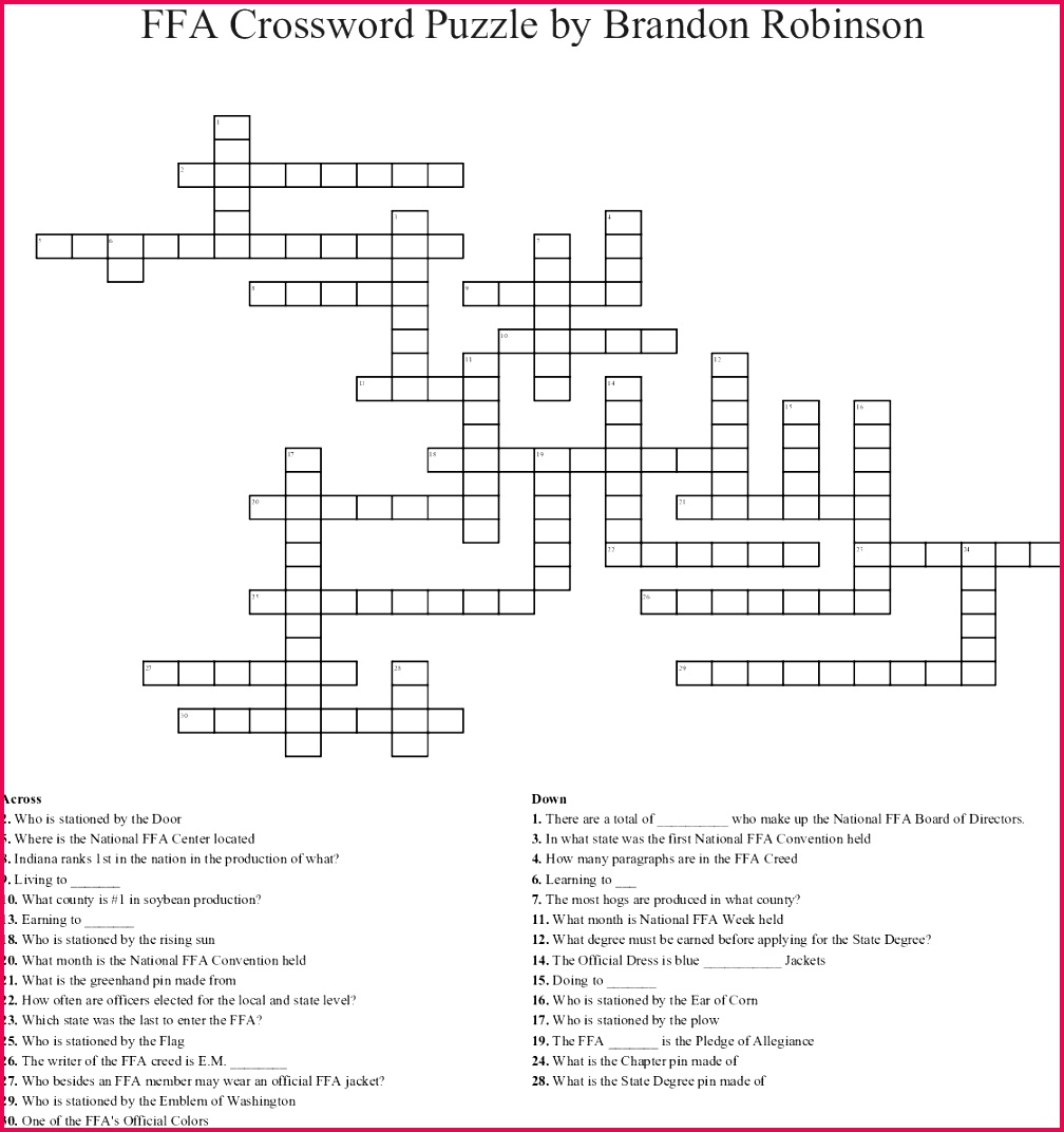 FFA Crossword Puzzle by Brandon Robinson