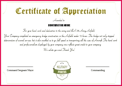 professional army certificate of appreciation templates with regard to military flag template promotion points