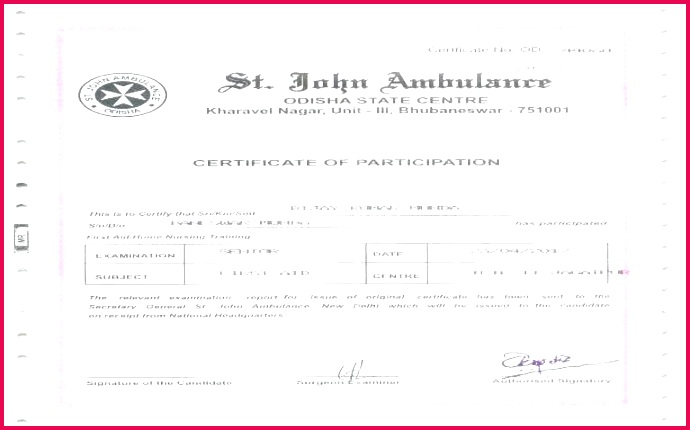 certificate of attendance template word doc first aid