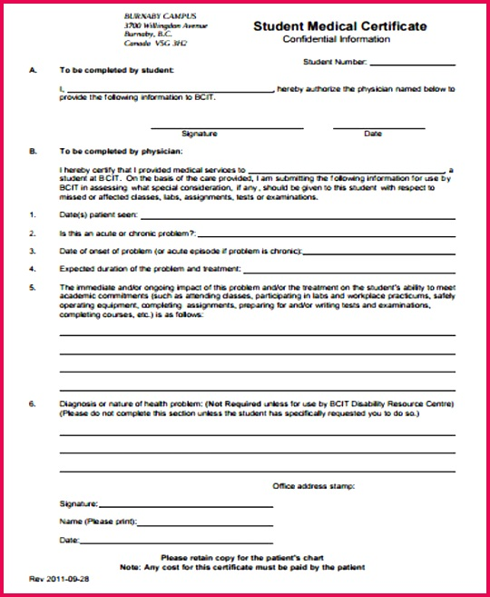 Medical Certificate Form for Student