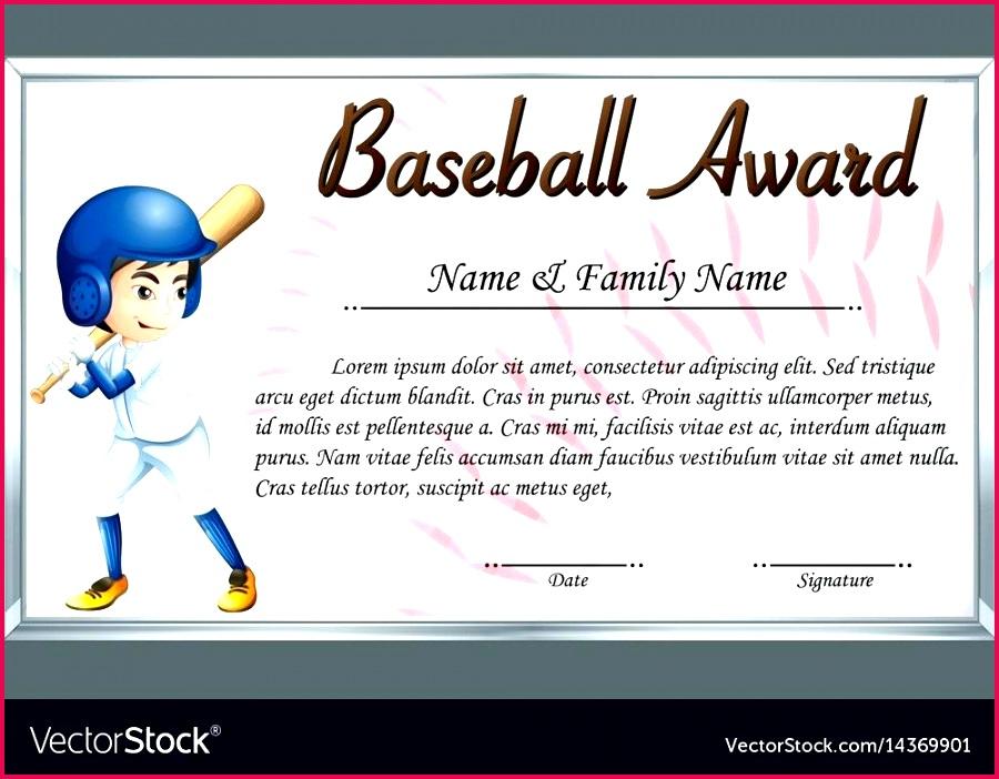 certificate template for baseball award with vector image 1987 fleer winners