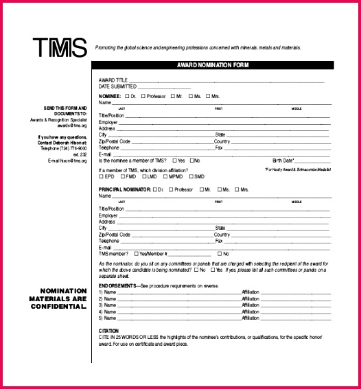 Award Nomination Form PDF Format Download